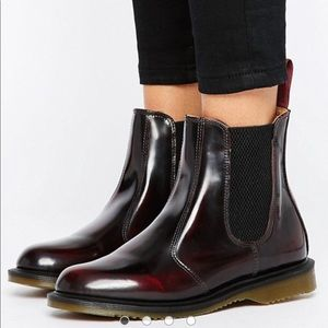Dr Martens Flora Chelsea Boots Burgundy